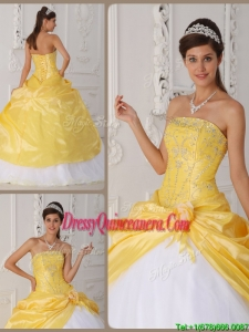 Elegant Appliques Quinceanera Dresses with Hand Made Flower