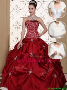 Fashionable Strapless Quinceanera Dresses with Embroidery and Pick Ups