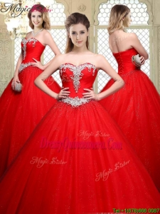 2016 Popular Sweetheart Beading Quinceanera Gowns with Brush Train
