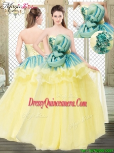 Perfect A Line Strapless Quinceanera Dresses with Bowknot and Ruffles