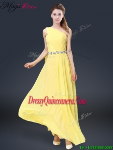 Fashionable One Shoulder Dama Dresses For Quinceanera in Yellow