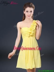 Sweet Short One Shoulder Ruching Dama Dresses for 2016