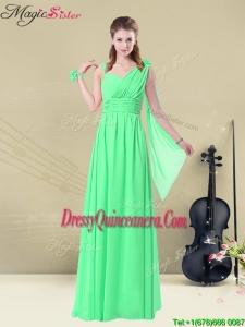 Elegant Straps Floor Length Dama Dresses with Ruching and Belt for Summer