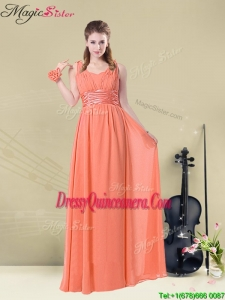 Fall Lovely Straps Floor Length Dama Dresses with Ruching and Belt