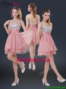 Hot Sale Mini-length Straps Paillette Dama Dresses for 2016