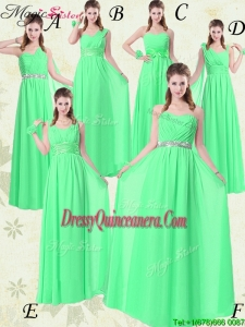 The Most Popular Empire Floor Length Dama Dresses with Ruching and Belt for 2016 Summer