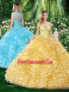 Beautiful Straps Cap Sleeves Sweet 16 Dresses with Beading