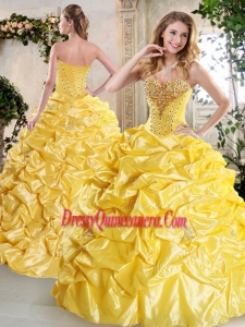 Simple Ball Gown Quinceanera Gowns with Beading and Pick Ups for Spring