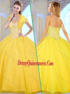 2016 Simple Ball Gown Yellow Sweet 16 Gowns with Beading