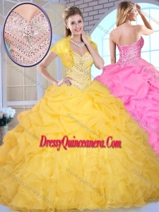 Pretty Ball Gown Sweetheart Beading and Pick Ups Quinceanera Gowns
