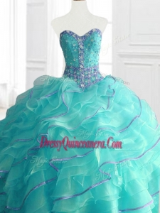 Modern Aqua Custom Made Sweet 16 Dresses with Beading and Ruffles