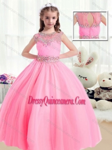 Sweet Ball Gown Cap Sleeves Little Girl Pageant Dresses with Beading