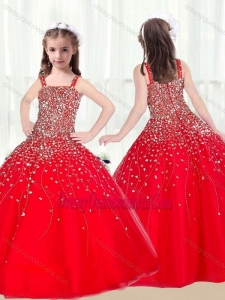 Cute Ball Gown Straps Beading Red Little Girl Pageant Dresses