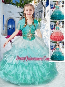 2016 Affordable Halter Top Little Girl Pageant Dress with Ruffled Layers and Beading