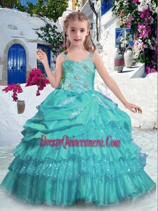 2016 Affordable Straps Little Girl Pageant Dress with Ruffled Layers and Beading