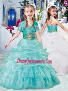 Affordable Halter Top Little Girl Pageant Dress with Beading and Bubles