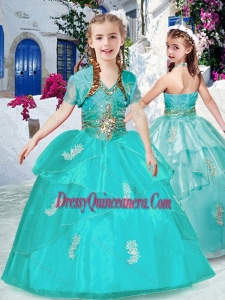 2016 Lovely Halter Top Turquoise Mini Quinceanera Dresses with Appliques