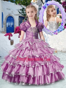 2016 Romantic Straps Mini Quinceanera Dresses with Ruffled Layers and Appliques