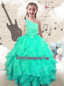2016 Modest Ball Gown One Shoulder Mini Quinceanera Dresses with Beading