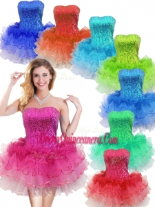 2016 Colorful Strapless Short Dama Dress with Sequins and Ruffles