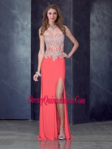 2016 Column Watermelon Red Dama Dress with High Slit and Appliques