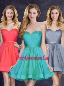 2016 Low Price Turquoise Short Dama Dress with Belt