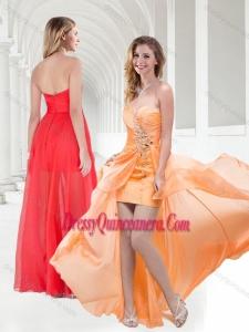 2016 New Style Sweetheart Empire Beaded Dama Dress in Orange