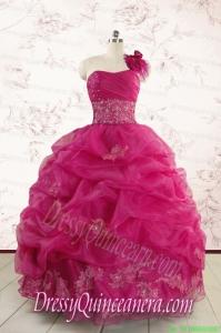2015 Cheap Appliques Quinceanera Dresses in Fuchsia