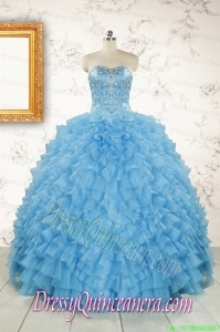 2015 Pretty Sweetheart Baby Blue Sweet 15 Dresses with Beading