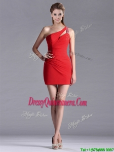 New Arrivals Side Zipper One Shoulder Red 2016 Dama Dresses with Beading