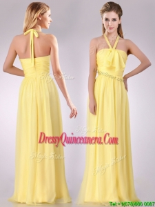 Lovely Halter Top Chiffon Ruched Long 2016 Dama Dress in Yellow