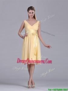 New Arrivals V Neck Bowknot Chiffon Short 2016 Dama Dress in Yellow