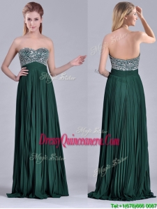 Popular Brush Train Beaded Bust and Pleated 2016 Dama Dress in Hunter Green