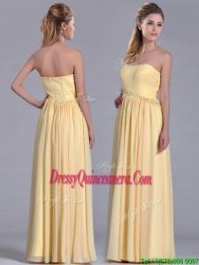 New Style Yellow Empire Long Beautiful DamaDress with Beaded Bodice