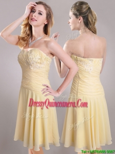 Elegant Applique Chiffon Yellow Short Beautiful DamaDress with Side Zipper