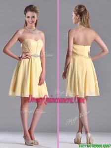 Modest Empire Chiffon Yellow Short Beautiful Dama Dress with Beading