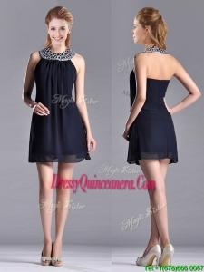 Popular Black Short Dama Dress with Beaded Decorated Halter Top