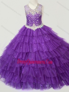 Affordable Beaded and Ruffled Layers Little Girl Pageant Dress in Purple