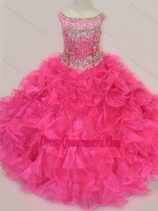 Affordable Scoop Hot Pink Little Girl Pageant Dress with Beading and Ruffles