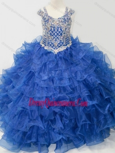 Affordable Skirt V-neck Beaded and Ruffled Layers Little Girl Pageant Dress with Straps