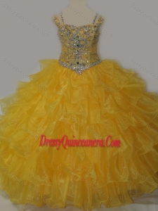 Affordable Sweetheart Little Girl Pageant Dress with Spaghetti Straps in Yellow
