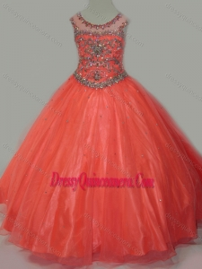 Latest Beaded Bodice Orange Little Girl Pageant Dress with Open Back