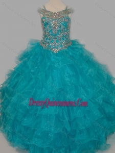Cheap Really Puffy V-neck Teal Mini Quinceanera Dress with Rhinestones and Straps