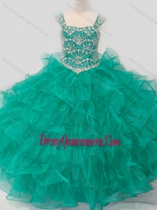 Top Selling Princess Straps Organza Turquoise Lace Up Mini Quinceanera Dress with Beading
