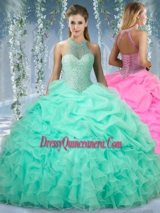 Beautiful Halter Top Beaded and Gorgeous Quinceanera Dresses in Mint