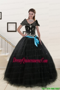 2015 Most Popular Appliques and Beading Quinceanera Dresses in Black