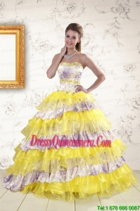 2015 Perfect Printed and Ruffles Multi-color Quinceanera Dresses