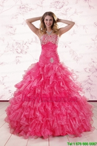 2015 Perfect Sweetheart Hot Pink Quinceanera Dresses with Ruffles