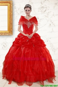 Perfect Sweetheart Beading Quinceanera Dresses in Red