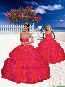 High End Beading and Ruffles Princesita Dress in Red for 2015 Spring